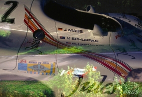 Double exposure (in camera) of JULES/1 of 2 917 Le Mans Porsches & Mario Andretti's F1 Alfa Romeo.